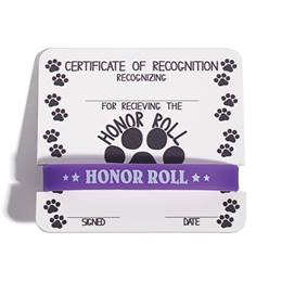 Mini Certificate/Wristband Set - Honor Roll/Paw