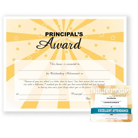 Mini Certificate/Wristband Set - Principal's Award