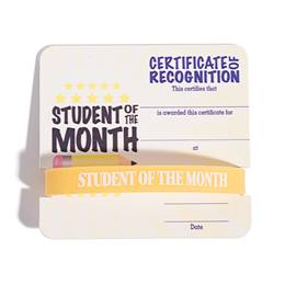 Mini Certificate/Wristband Award Set - Student of the Month/Pencil