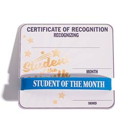 Mini Certificate/Wristband Award Set - Student of the Month