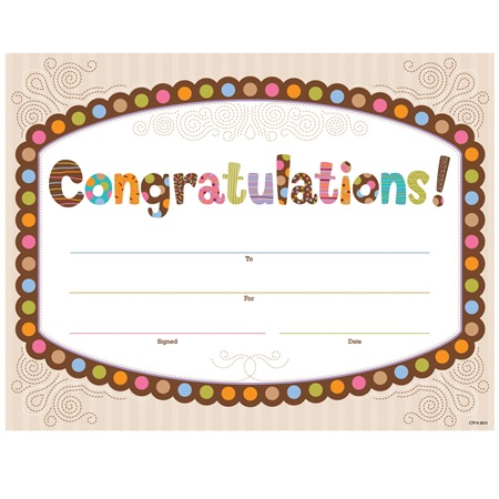 Certificates Congratulations Polka Dots Chocolate – Congratulations Certificate