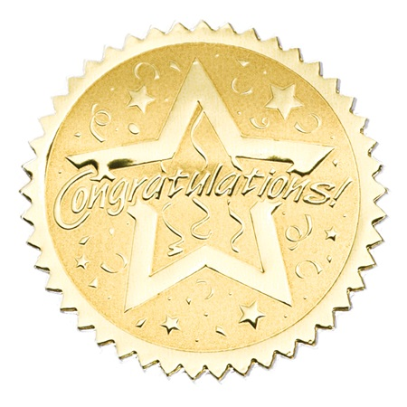 Gold Foil Certificate Seals Congratulations Anderson S