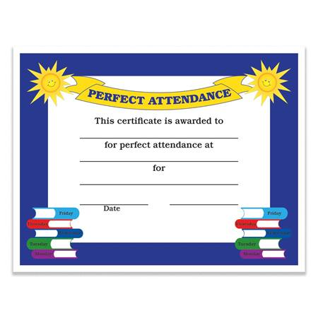 perfect attendance certificate pack anderson s