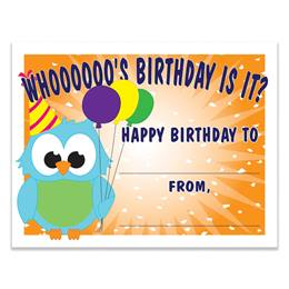 Birthday Owl Certificates Pack