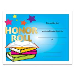 Honor Roll Books and Stars Certificates Pack