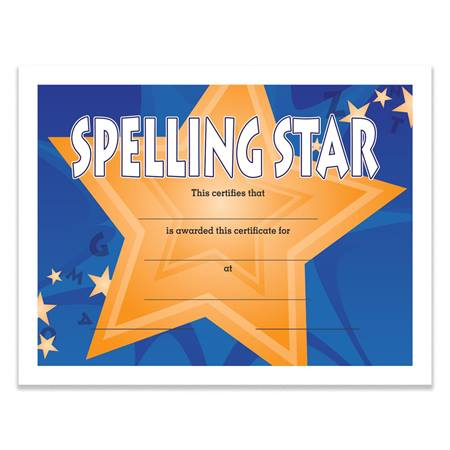 spelling star award certificate pack anderson s