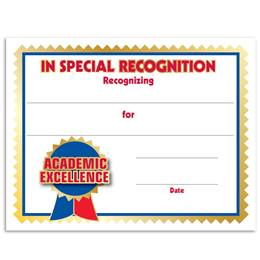In Special Recognition Academic Excellence Certificates Pack