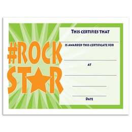 Hashtag Rock Star Certificates Pack