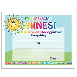 My Character Shines Certificates Pack