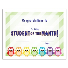 Student of the Month/Owls Certificates Pack