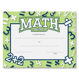 Math Award Certificates Pack