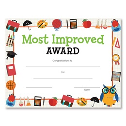 Most Improved Award Certificates Pack