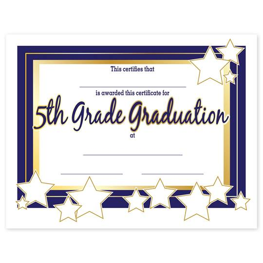 Gold Outlined Stars 5th Grade Graduation Certificates It S Elementary