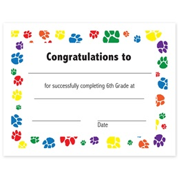 6th Grade Completion Certificate