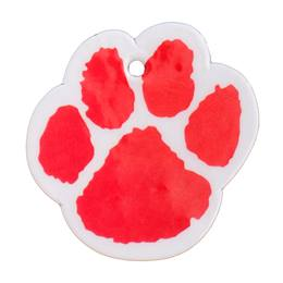 Custom Paw-shaped Dog Tag - Red/White