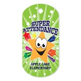 Super Star Attendance Custom Plastic-Coated Dog Tag