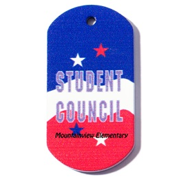 Custom Dog Tag - Red, White, and Blue Student Council
