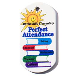 Custom Dog Tag - Perfect Attendance/Books