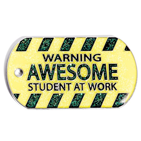 Glitter Dog Tag - Awesome Student