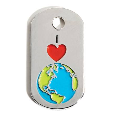 Mini Dog Tag - I Heart Earth