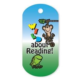 Wild About Reading Plastic-Coated Dog Tag