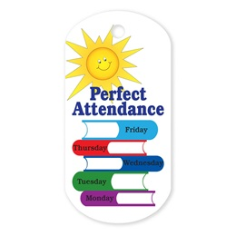Perfect Attendance Plastic-Coated Dog Tag