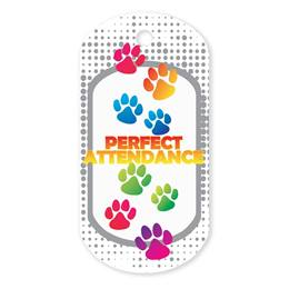 Paw Perfect Attendance Plastic-Coated Dog Tag