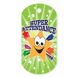 Super Star Attendance Plastic-Coated Dog Tag