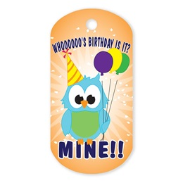 Birthday Owl Plastic-Coated Dog Tag