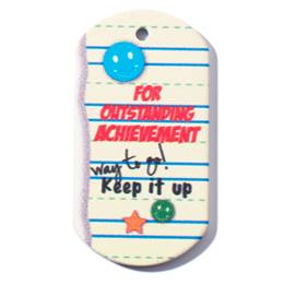 Outstanding Achievement Plastic-Coated Dog Tag