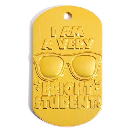 Yellow Embossed Dog Tag - Bright Student
