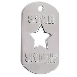 Die Cut Dog Tag - Star Student