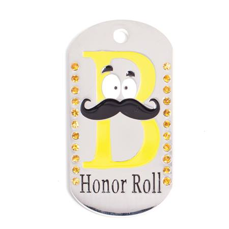 B Honor Roll Bling Dog Tag