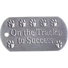 Embossed Dog Tag - On the Tracks to Success