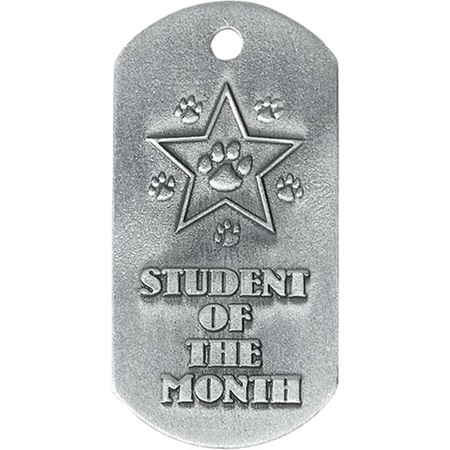 Embossed Dog Tag - Student of the Month With Paws
