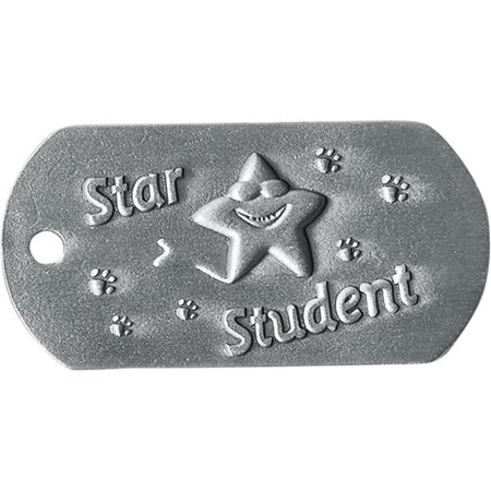 Embossed Dog Tag - Star Student With Paws