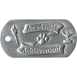 Embossed Dog Tag - Academic Achievement With Paws
