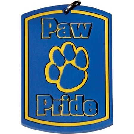 Paw Pride Silicone Dog Tag - Yellow/Blue Paw