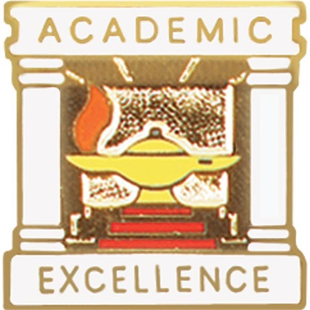 Academic Excellence Award Pin - Columns and Lamp