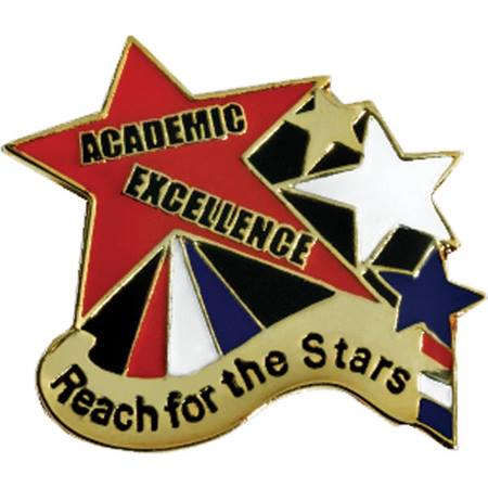 Academic Excellence Award Pin - Reach For the Stars