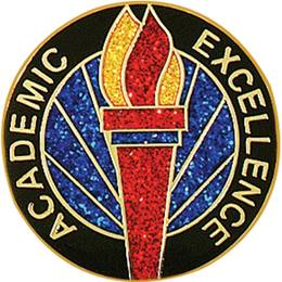 Academic Excellence Award Pin - Glitter Torch