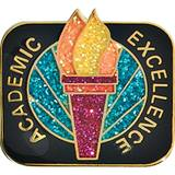 Academic Achievement Award Pin - Glitter Torch