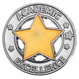 Academic Excellence Award Pin - Silver With Gold Star
