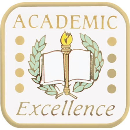 Academic Excellence Award Pin - Torch, Laurel, and Book