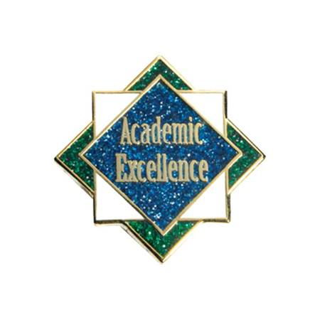 Academic Excellence Award Pin - Blue/Green Glitter