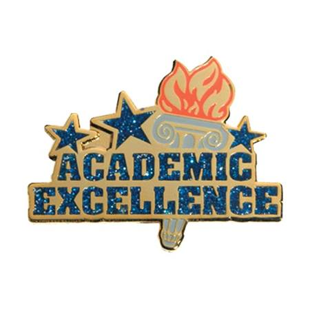 Academic Excellence Award Pin - Blue Glitter With Torch