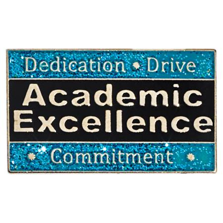 Academic Excellence Award Pin - Glitter Dedication, Drive, Commitment