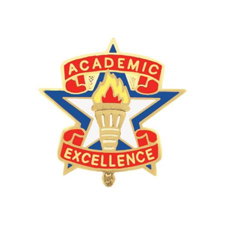 Academic Excellence Award Pin - Torch on Star