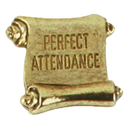 Attendance Award Pin -Gold Scroll