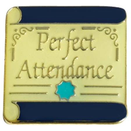 Attendance Award Pin -Gold Scroll and Star